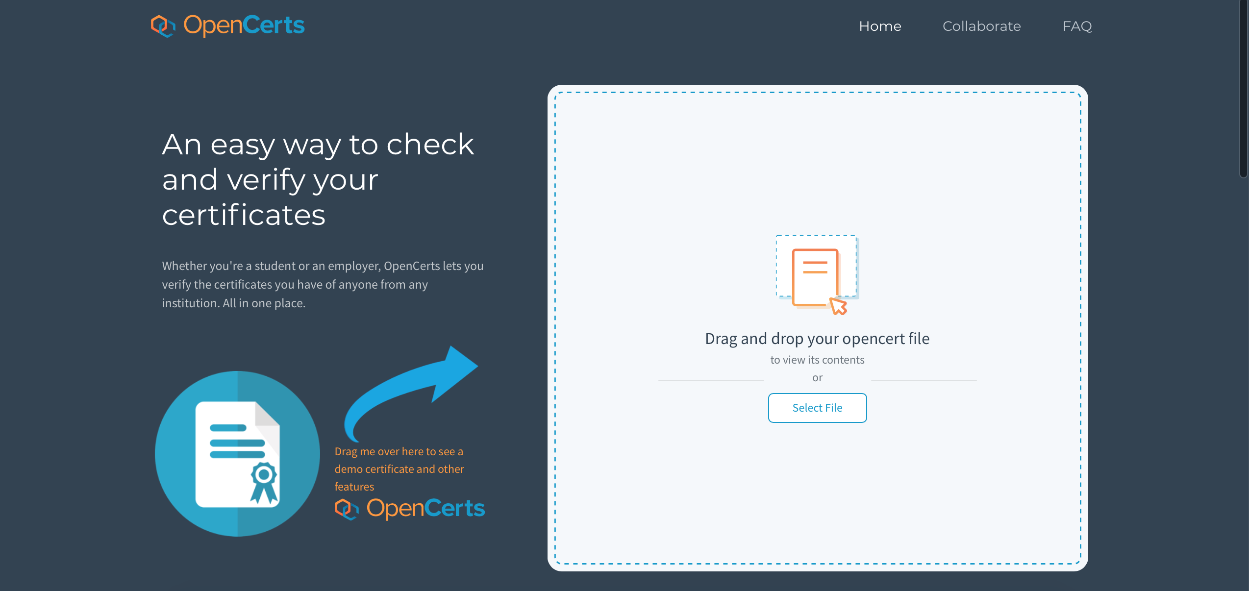 OpenCerts homepage