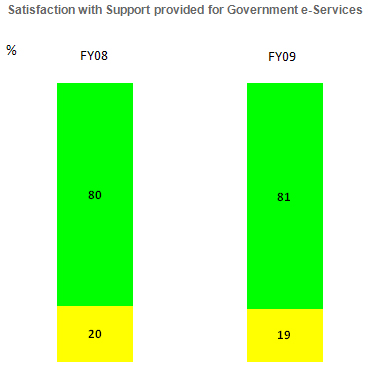 Graph depicting level of satisfaction of businesses with government digital services - 2010